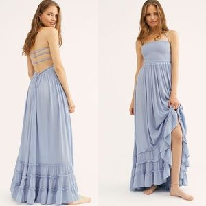 Free People Extratropical Maxi Dress Blue Small